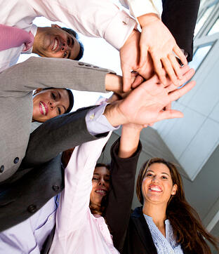 Group of business people working as a team