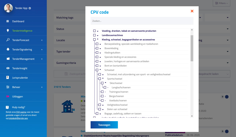 Zoeken TenderIntelligence CPV code